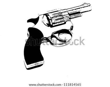 Revolver vector gun, black isolated on white background - vector illustration image - stock vector