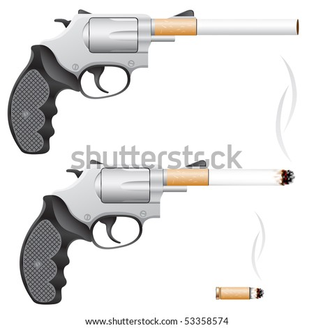 Revolver with a cigarette barrel isolated on white - stock vector