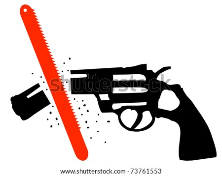 Revolver with the gun cut by a saw - stock vector
