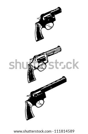 Revolvers vector guns, black isolated on white background - vector illustration image - stock vector