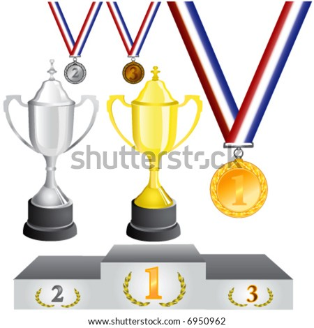reward (medal and cup) vector - stock vector