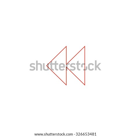 Rewind back. Red outline vector pictogram on white background. Flat simple icon