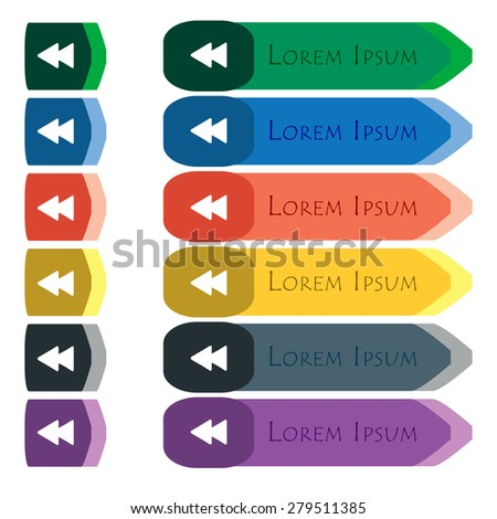 rewind  icon sign. Set of colorful, bright long buttons with additional small modules. Flat design. Vector - stock vector