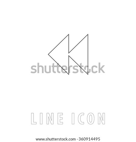rewind  Outline simple vector icon on white background. Line pictogram with text