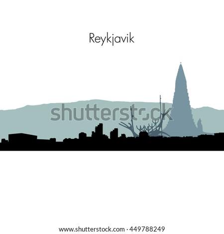 Reykjavik Iceland City skyline silhouette. Vector illustration. - stock vector