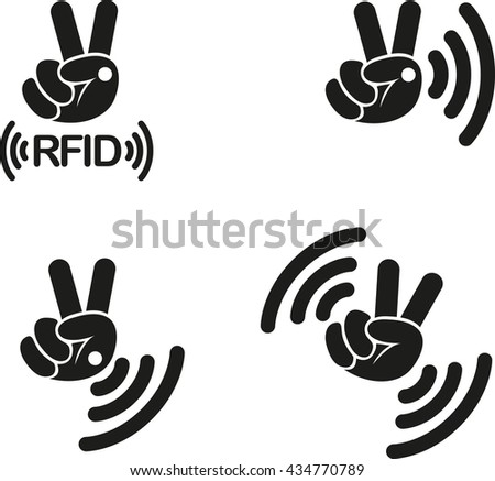 RFID - Implantable Radio Frequency Identification tag Icon Sign Symbol Pictogram