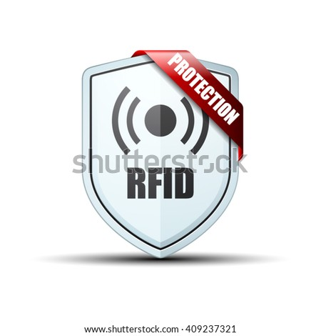 RFID Protection Shield sign - stock vector