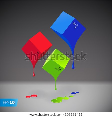 RGB Color system cubes with blobs on grey background, vector EPS 10 illustration. - stock vector