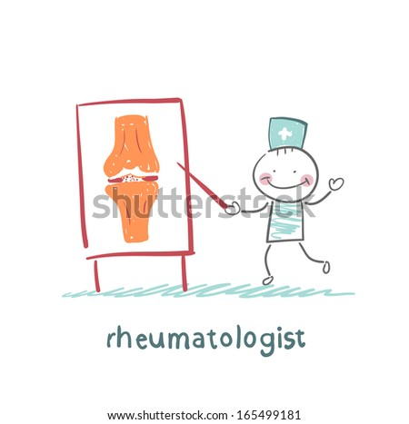 rheumatologist says about the pain in the joints - stock vector