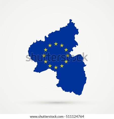 Rhineland Palatinate Map European Union Flag Stock Vector 511124764