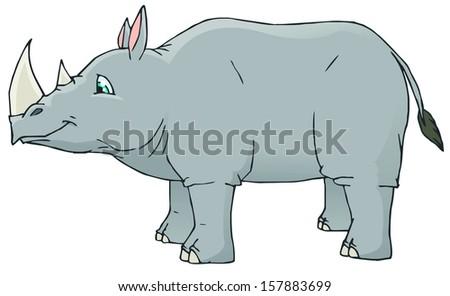 rhino cartoon - stock vector