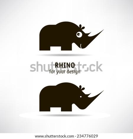 Rhino icon - stock vector