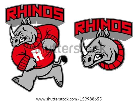 rhino mascot - stock vector