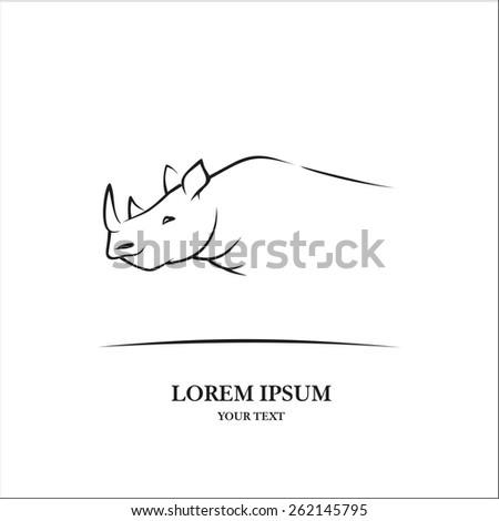 Rhino sketch - stock vector