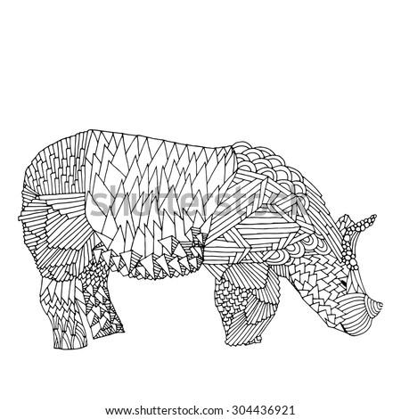 Rhino - Stylized fantasy patterned Rhinoceros. Hand drawn vector illustration. Original hand drawn Rhinoceros. Good for T-shirt, bag or whatever print. Vector illustration - stock vector