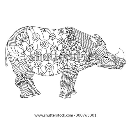 Rhino - Stylized fantasy patterned Rhinoceros. Hand drawn vector illustration with floral elements. Original hand drawn Rhinoceros  - stock vector