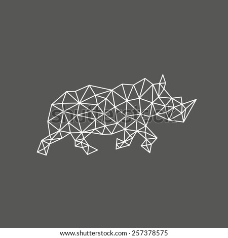 Rhinoceros abstract isolated on a white backgrounds, vector illustration  - stock vector
