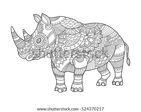 Rhinoceros Coloring Book Adults Vector Illustration Stock