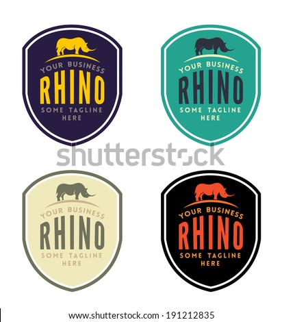 Rhinoceros Emblem for Your Business - stock vector