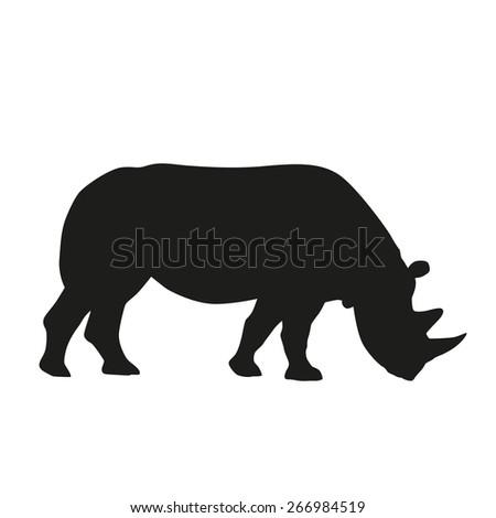 Rhinoceros. Vector silhouette - stock vector