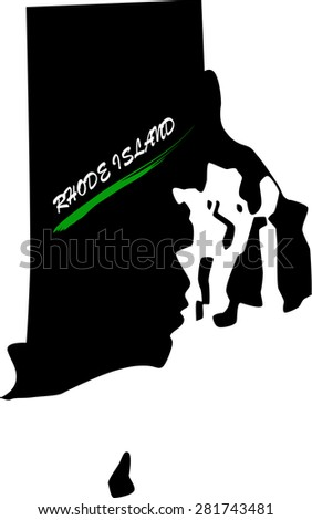 Rhode Island map vector in black and white background, Rhode Island map outlines in a new design - stock vector