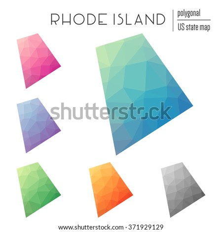 Rhode Island state map in geometric polygonal style. Set of Rhode Island state maps filled with abstract mosaic, modern design background. Multicolored state map in low poly style - stock vector