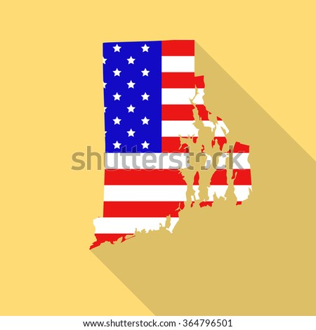 Rhode Island state map in style of USA national flag. Flat style with long shadow