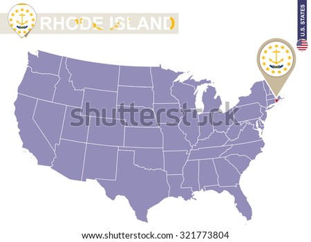 rhode island state on usa map rhode island flag and map us states