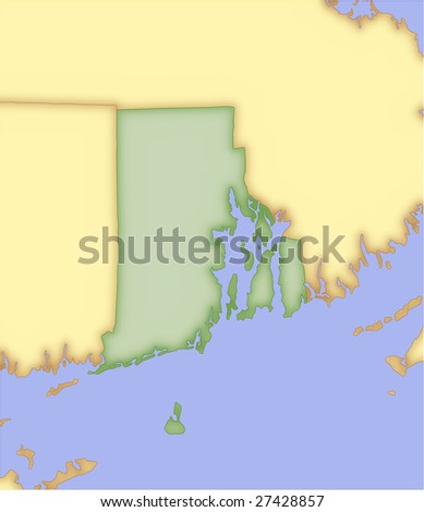 Rhode Island, vector map, with borders of surrounding states. 5 named layers, fully editable. - stock vector