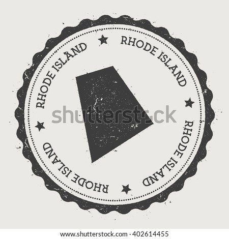 Rhode Island Vector Sticker Hipster Round Rubber Stamp With Us State Map Vintage Passport