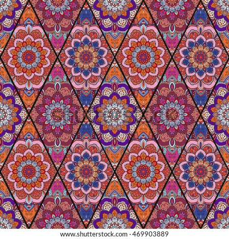 Rhombus Boho Flower Seamless Pattern Mandala Patchwork Floral Elements Oriental Hippie Design