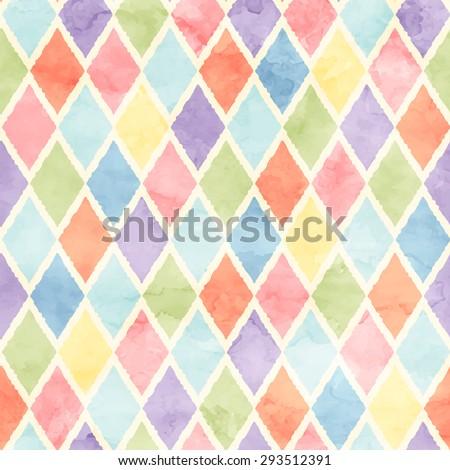 rhombus watercolor pattern - stock vector
