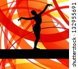 Rhythmic gymnastic background woman with hoop ring vector - stock vector
