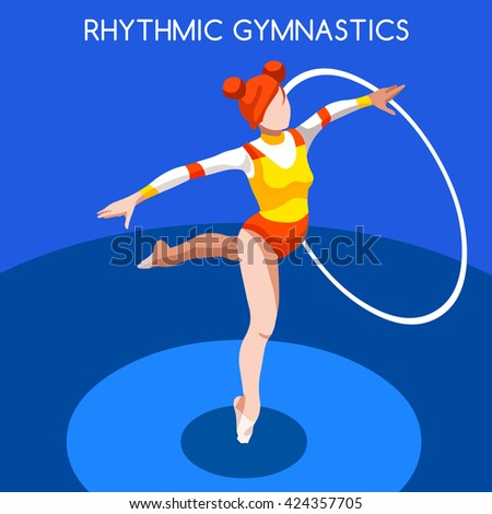 Rhythmic Gymnastics Hoop Athletes 2016 Summer Games Icon Set.3D Isometric Athlete. Sporting Championship International Competition. Sport Infographic Rhythmic Gymnastics Hoop olympics Vector Image - stock vector
