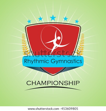 Rhythmic Gymnastics - Winner Golden Laurel Seal  - Layered EPS 10 Vector - stock vector