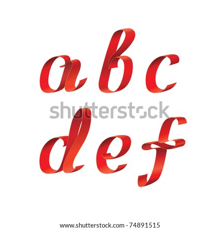 Ribbon Alphabet - stock vector