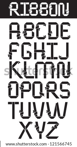 Ribbon Alphabet A through Z Vector no open shapes or paths - stock vector