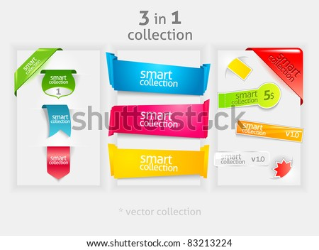 Ribbon and banner collection. Vector bookmarks. - stock vector