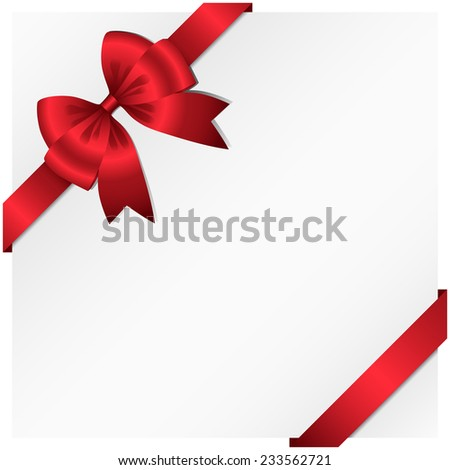 Ribbon and Bow Background - Vector ribbon and bow wrapping around a white background.  Ribbon can be adjusted easily to fit any format.  Colors are global swatches. - stock vector