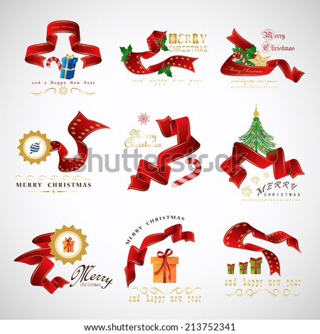 Ribbon And Elements Set - Isolated On Gray Background - Vector Illustration, Graphic Design Editable For Your Design - stock vector