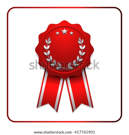 Ribbon award icon. Red badge, isolated on white background. Medal design element. Label emblem. Blank certificate, winner or prize, decoration. Sumbol first, victory success, win. Vector illustration - stock vector