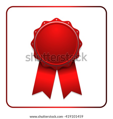 Ribbon award icon. Red badge, isolated on white background. Medal design element. Label emblem. Blank certificate, winner or prize, decoration. Symbol of victory, success, win. Vector illustration - stock vector