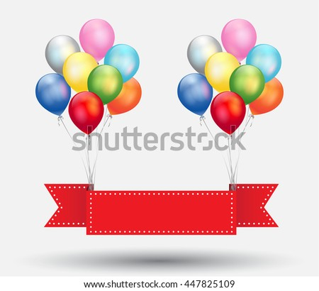 ribbon background with balloons vector  - stock vector