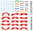 Ribbon banner graphic design set  Vector Illustration - stock vector