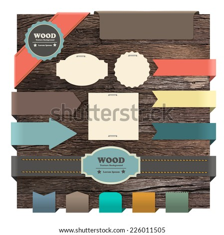 Ribbon banner on wood texture background, Vector illustration template design - stock vector