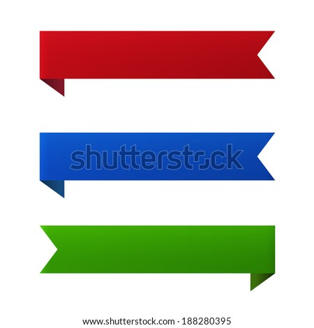 Ribbon banner set of design element icons isolated on white background. Vector illustration - stock vector