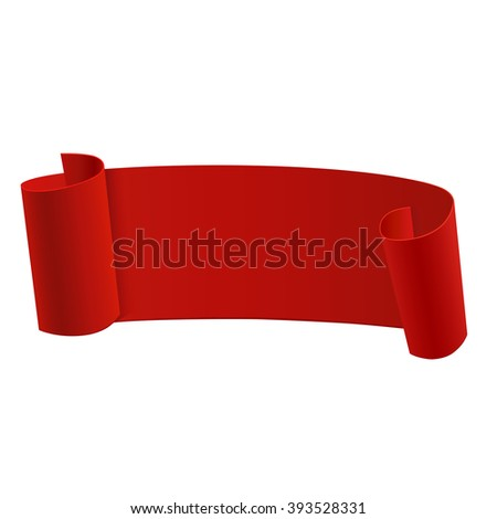 Ribbon banner template. Beautiful realistic red ribbon. Sticker template. Vector illustrration, eps 10 - stock vector