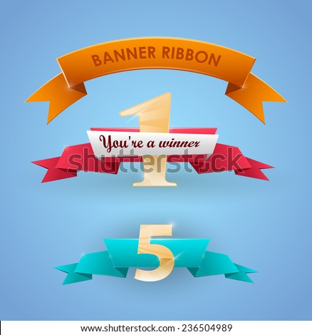Ribbon banner. winner ribbon place - stock vector