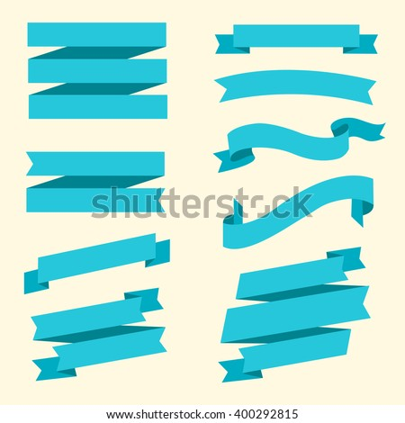 Ribbon banners. Collection of different blue banners. Beautiful vintage ribbons. Vector illustration, eps 10 - stock vector