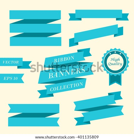 Ribbon banners. Collection of different blue ribbon banners. Vintage styled ribbons and badge template. Ribbon element. Vector illustration, eps 10 - stock vector